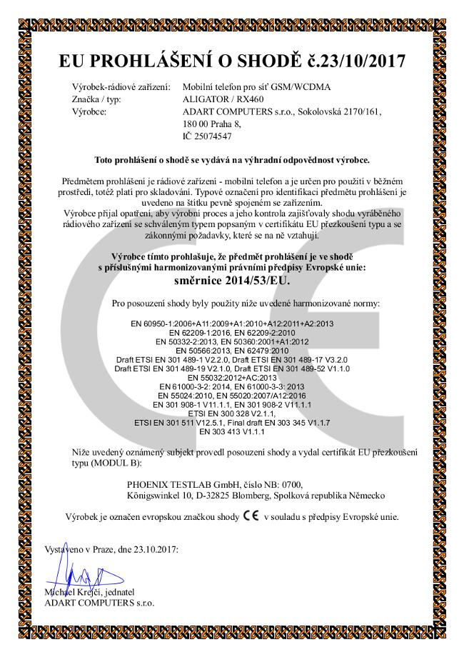 EU prohlášení o shodě ALIGATOR RX460